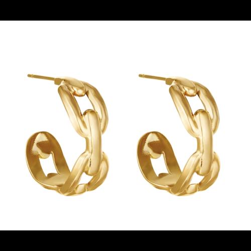 YEHWANG Earrings Oval Chain Gold