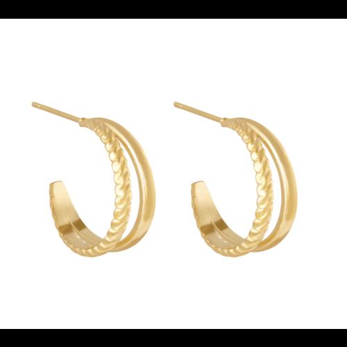 YEHWANG Earrings Double Trouble Gold