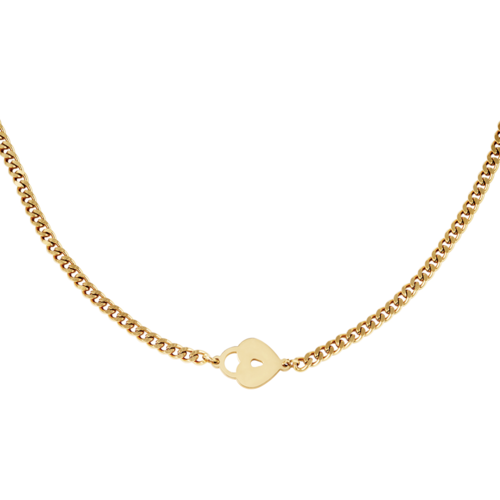YEHWANG Necklace Locked Heart Gold