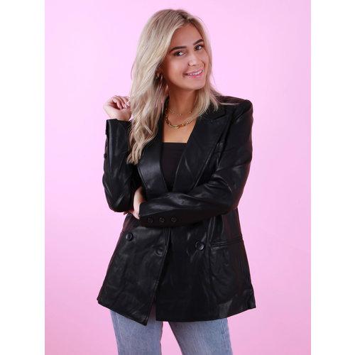 DRŌLE DE  COPINE Leather Look Blazer Black