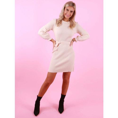 AZAKA PARIS Knitted Rib Dress Ecru