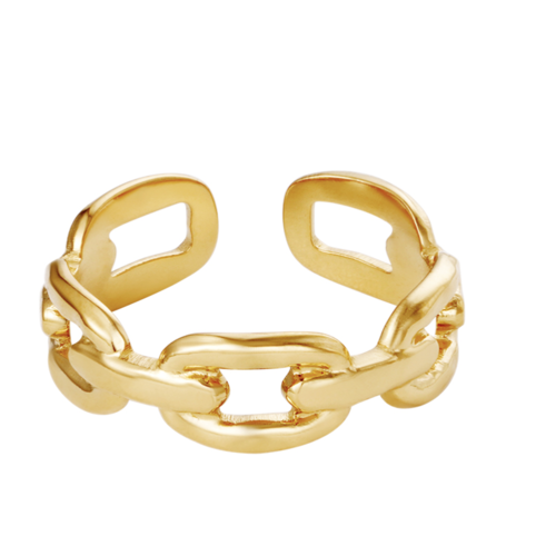 YEHWANG Ring Oval Chain Gold
