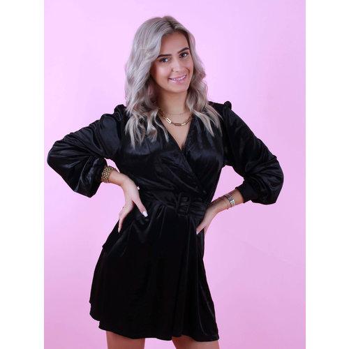EIGHT PARIS Velvet Dress With Belt Black