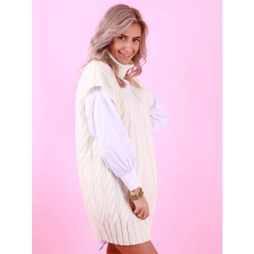 DRŌLE DE  COPINE Cable Knit Spencer Coll Ecru