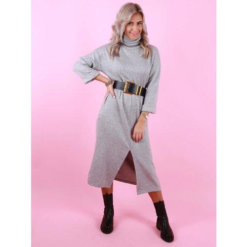 Mironcè Long Front Split Dress Grey