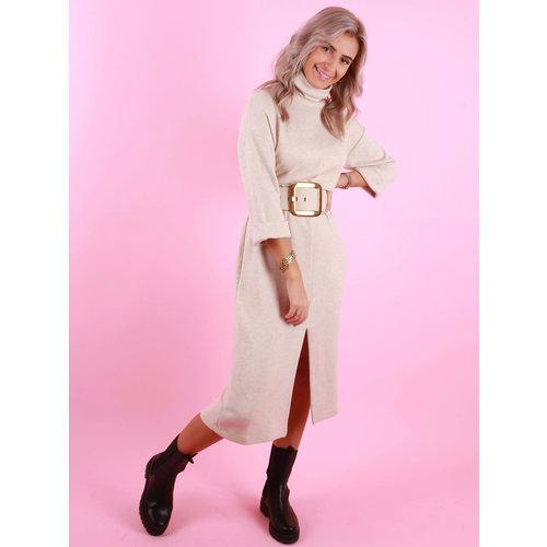 Mironcè Long Front Split Dress Beige