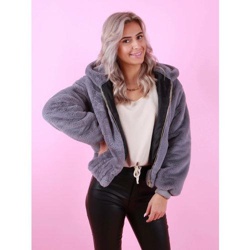 Mironcè Bomber Jacket Grey Faux Fur