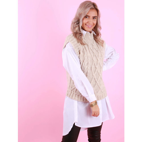 MODA ITALIA Cable Knit Spencer Beige