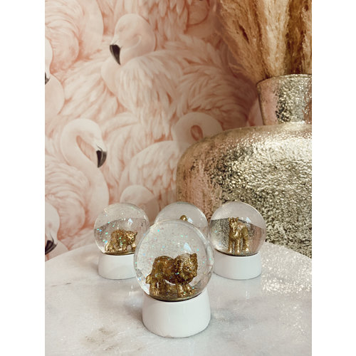 HAPPY RETRO Water Globe Lion Gold
