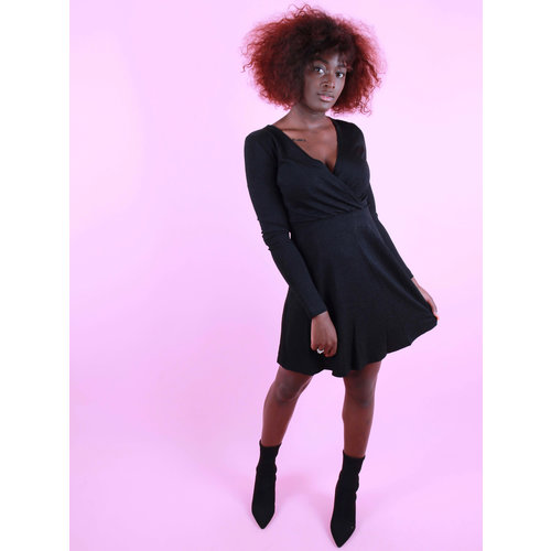 EIGHT PARIS Glitter Stripe Dress Black