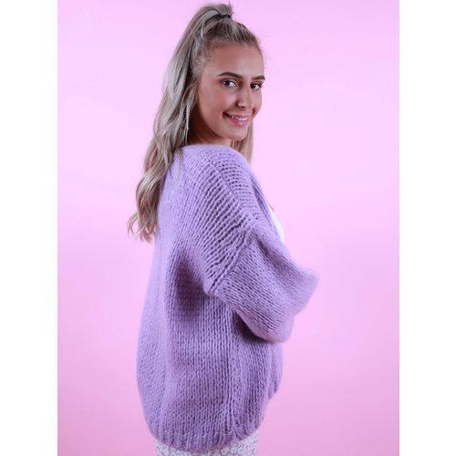 MIKA ELLES Knitted Cardigan Purple