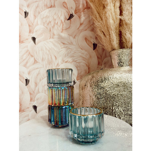 The Go Round Candle Holder Blue Gold