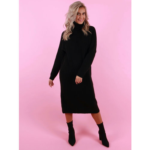 DRŌLE DE  COPINE Knitted Dress With Col Black