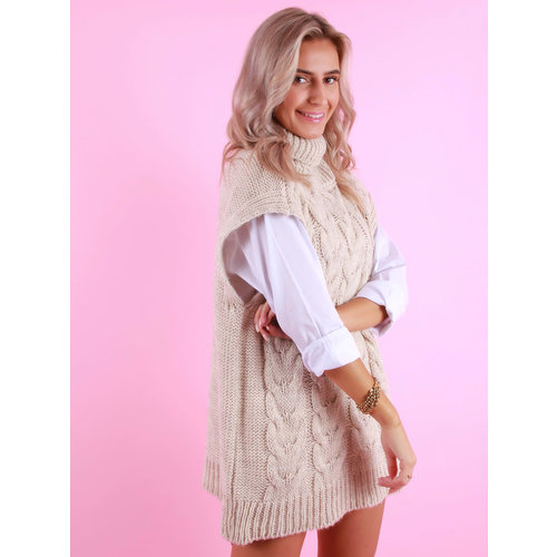 MODA Cable Knit Spencer Coll Beige