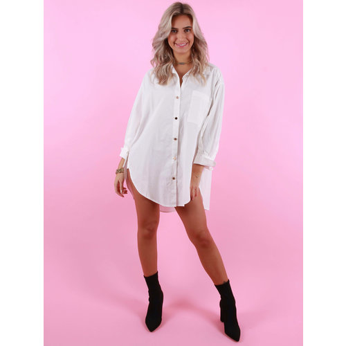 Drôle de  Copine Blouse With Gold Buttons White