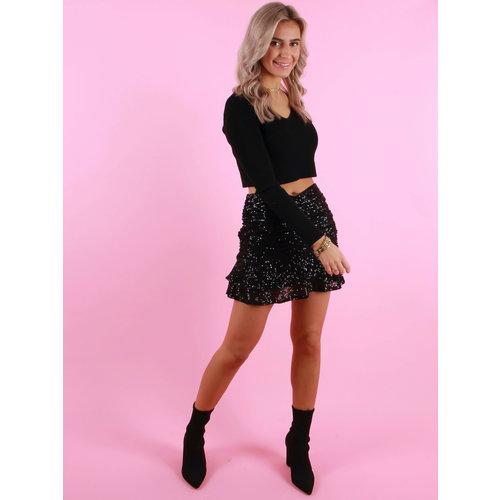 VERA & LUCY Glitter Skirt Black