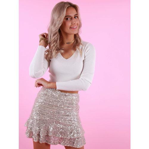 VERA & LUCY Glitter Skirt Silver