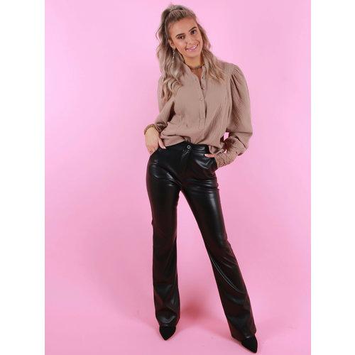 EIGHT PARIS Leather Look Flare Pants Black