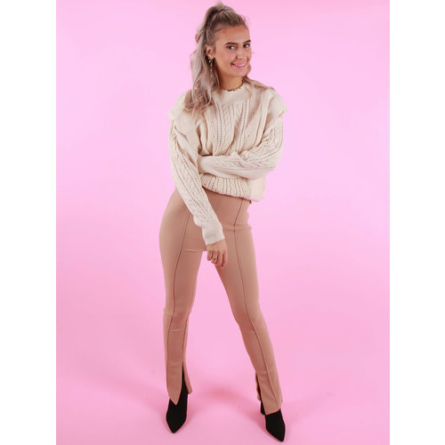 VERA & LUCY High Waisted Trousers With Zipper Beige