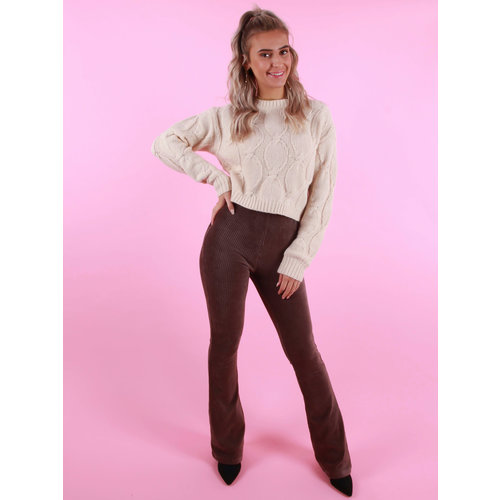 Ambika Julie Rib Trousers Taupe