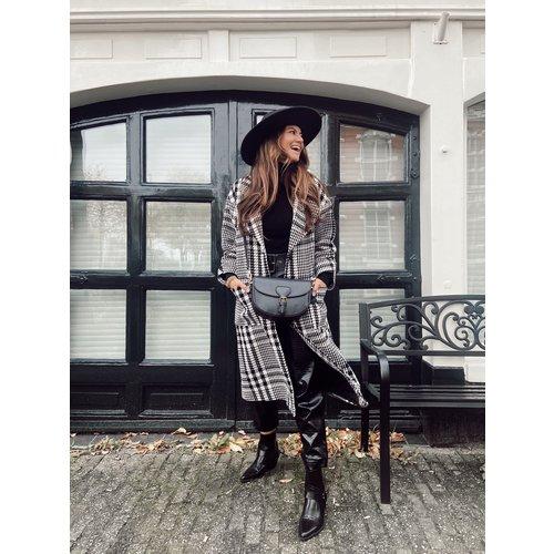 Mironcè Long Printed Coat Black/White
