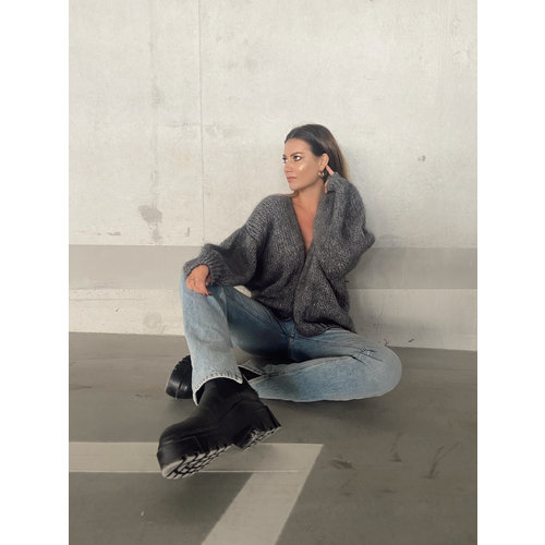 Mika Elles Knitted Cardigan Dark Grey