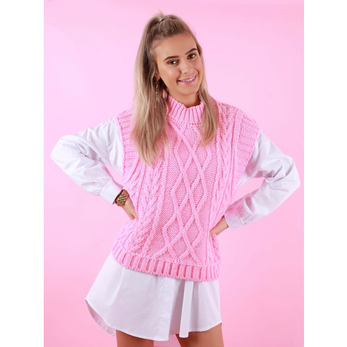LADYLIKE FASHION Cable Knit Spencer Pink