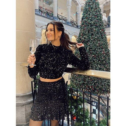VERA & LUCY Sequins Crop Top Black