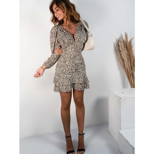 Vera & Lucy Leopard Skirt Ecru
