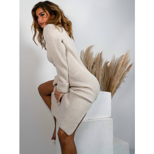 Jumelle Long Knitted Split Dress Beige
