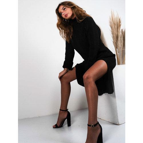 Jumelle Long Knitted Split Dress Black