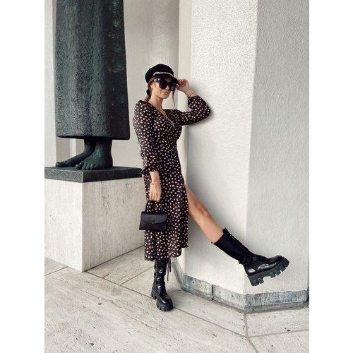 Eight Paris Long Heart Dress Black