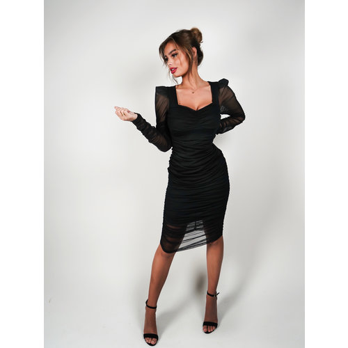 Allyson Mesh Bodycon Dress Black