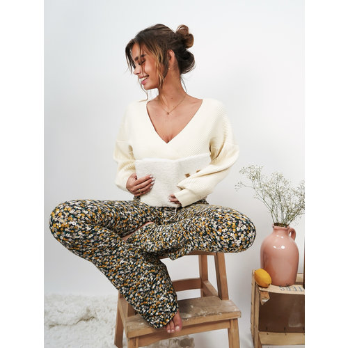 Ambika Soft Flared Trousers Flowers Yellow