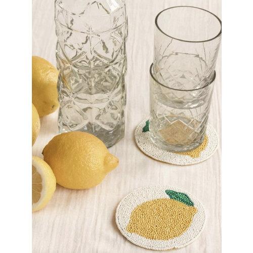 Glass Coaster Beads Lemon (Set/2)