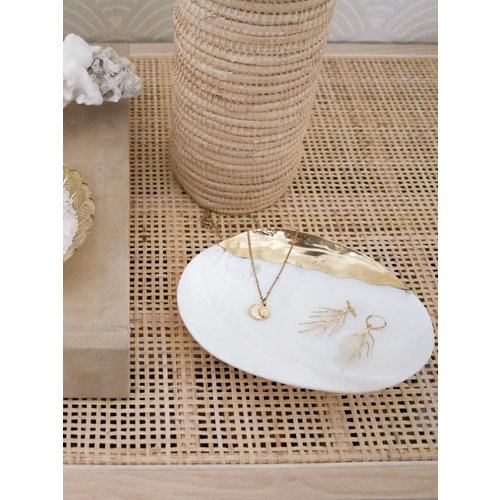 Mother of Pearl Shell + Brass Dish