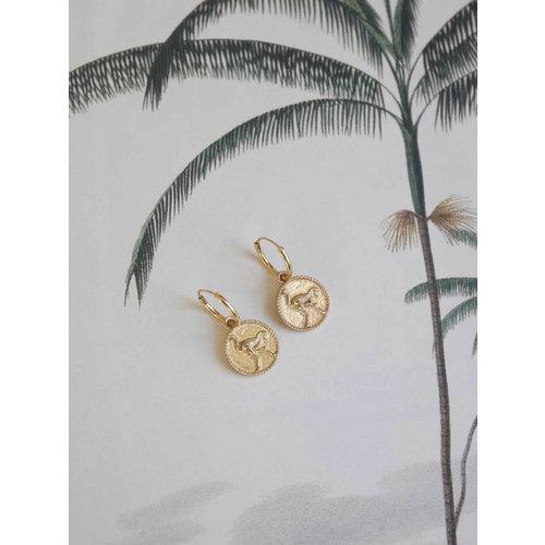 Earrings small ostrich coin pair