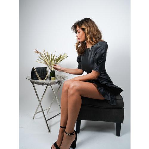 Allyson Ruffle Faux Leather Dress Black