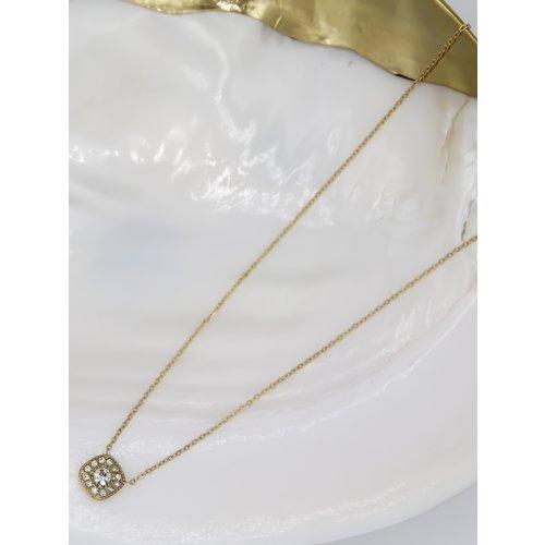 Ladylike  Fashion Diamond Necklace Gold