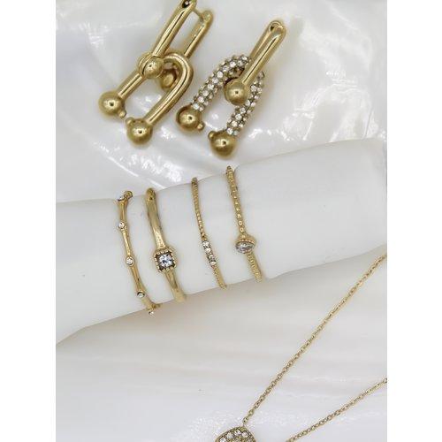 Ladylike  Fashion Strass U Earrings Gold