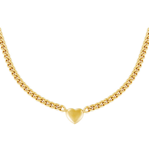 Yehwang Necklace Chained Heart Gold