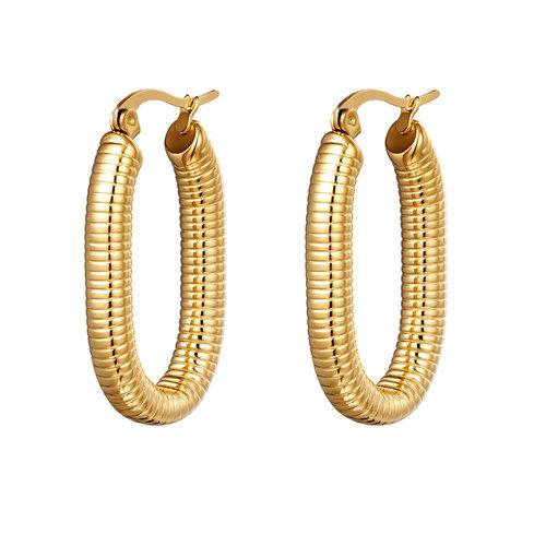 Yehwang Earrings Oval Spring Gold