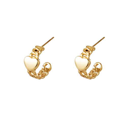 Yehwang Earrings Chained Heart Gold