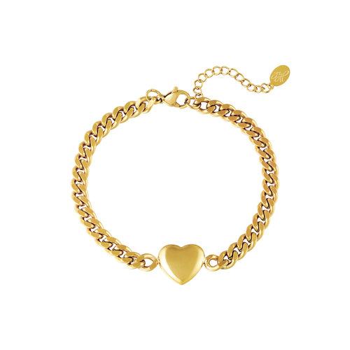 Yehwang Bracelet Chained Heart Goud