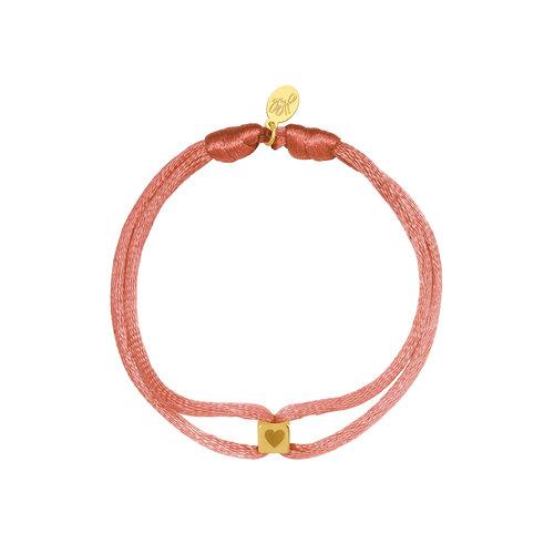 Yehwang Bracelet Satin Cube Heart Pink
