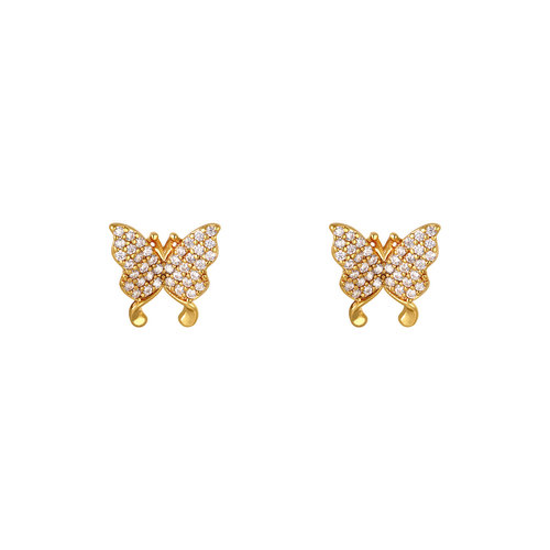 Yehwang Earrings Shiny Butterfly Gold