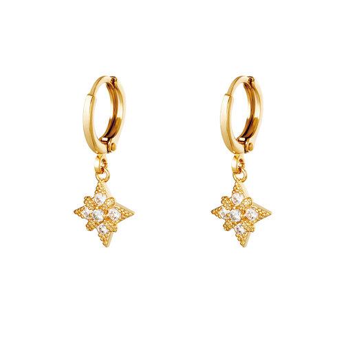 Yehwang Earrings Diamond Star Gold