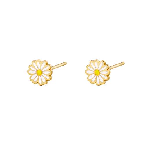 Yehwang Earrings Golden Daisy White