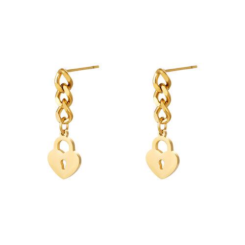 Yehwang Earrings Locked Heart Chain Gold