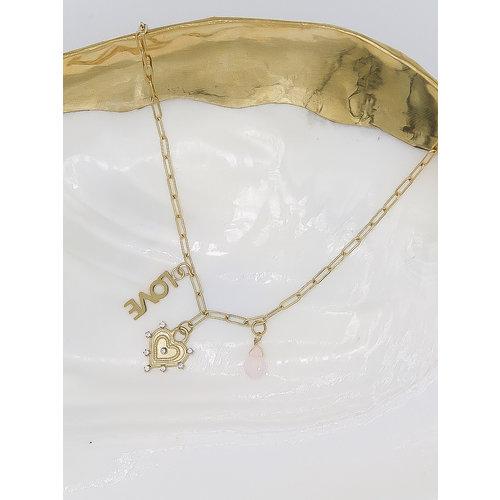 Ladylike  Fashion Love Heart Necklace Gold